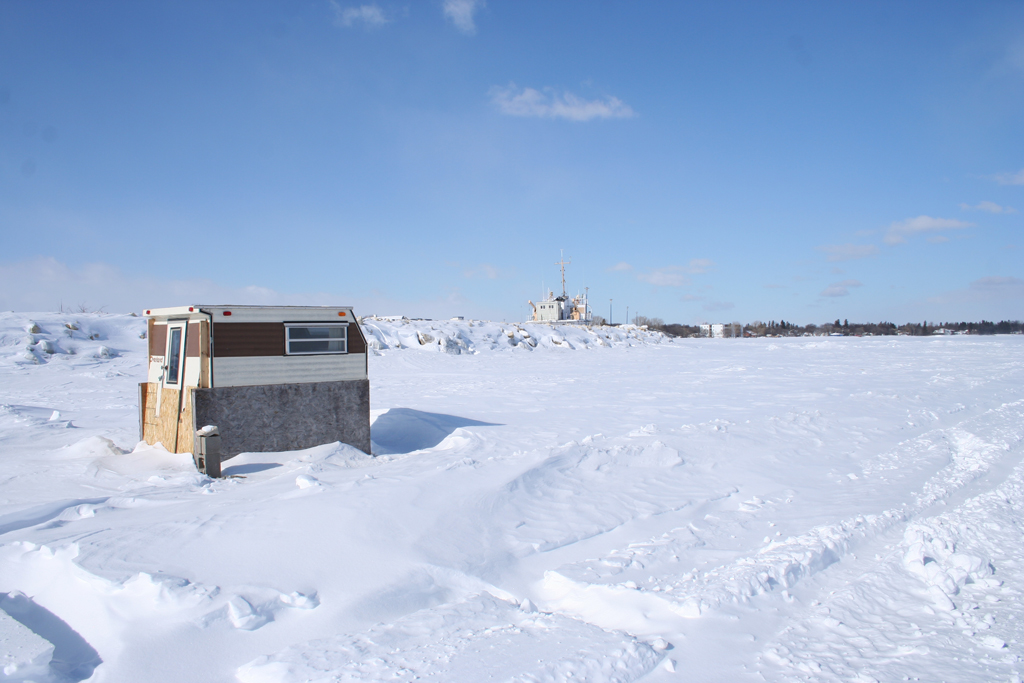 Ice Fishing Huts On Lake Manitoba Nat Chard